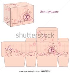 Box template with abstract flowers and wavy lines. Vector illustration. - stock vector
