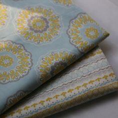 TGBWM浅蓝底黄色花条(2色选) 外贸棉布拼布DIY布料|幅宽1.1米