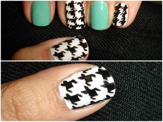 Houndstooth Nails- Perfect for Winters!