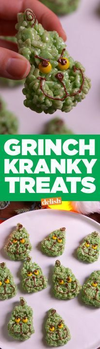 These rice krispies Grinch Kranky Treats will make your heart grow two sizes. Get the recipe from http://Delish.com.