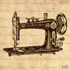 Antique Sewing machine Vintage Illustration Download and Print Image Transfer, Digital Collage Sheet