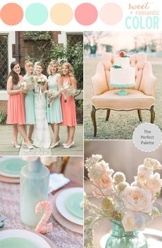 Color Story | Shades of Peach, Coral + Mint! http://www.theperfectpalette.com/2013/08/color-story-sweet-romantic-color.html