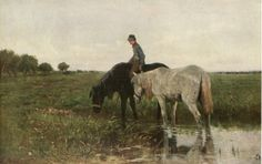 WATERING HORSES   BY ANTON MAUVE
