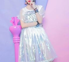Harajuku Hologram Laser Transparent Loose Dress