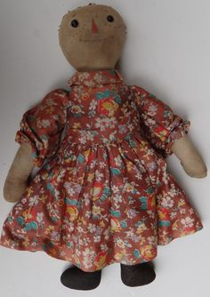 """VOLLAND RAGGEDY ANN CLOTH DOLL EARLY VINTAGE ANTIQUE WOODEN HEART in CHEST16"""" #Volland"""