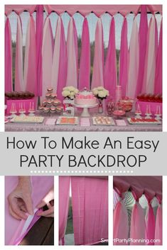 How To Make An Easy DIY Party Backdrop The easiest DIY party backdrop. This is a cheap and easy backdrop that can be prepared for an outdoor or indoor party. Made using budget plastic table. Diy Birthday Backdrop, Birthday Party Decorations Diy, Birthday Party Themes, Diy Party Backdrop, Formal Party Themes, Themes For Parties, Spring Birthday Party Ideas, 18th Birthday Party Ideas For Girls, Cheap Party Decorations