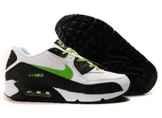 size 40 e7594 9c4dc Ken Griffey Shoes Nike Air Max 90 White Black Green Leather  Nike Air Max  90 - Cotton laces, branding and Nike swooshes in green make the Nike Air Max  90 ...