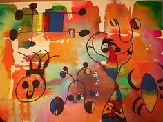 Artist study Joan Miro, bleeding tissue paper background - oil pastels for flowing curvy shapes of creatures