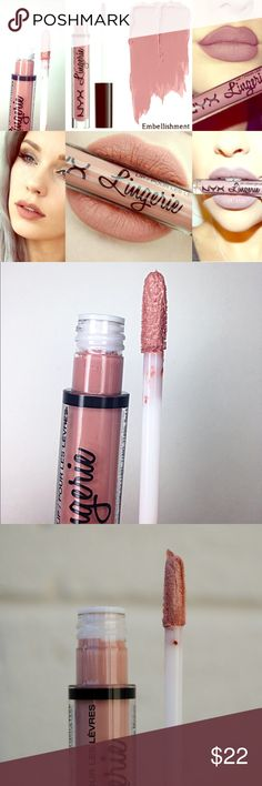 NYX Liquid Suede *Embellishment & Push up* Two NYX Lip Lingeries *Push Up* & *Embellishment* NYX Makeup