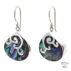 Abalone Droplet Earrings with Silver Whale Tails