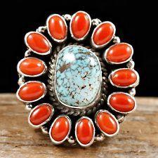 """TONYA JUNE RAFAEL Navajo """"Artesia"""" Turquoise & CORAL Ring sz 7 8 ..."""