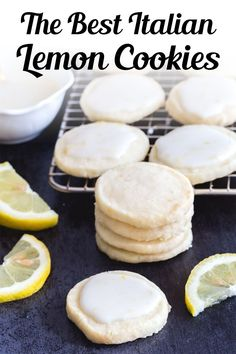 Perfect melt in your mouth Lemon Cookies. If you love anything lemon then you are going to love these cookies. Light and easy to make, with a tasty lemon glaze, they are sure to satisfy any lemon lover! This easy lemon cookie recipe is great for summer or anytime you fancy a citrusy treat! #lemoncookies #cookies Citrus Recipes, Fruit Recipes, Bar Recipes, Sweet Recipes, Dessert Recipes, Summer Recipes, Chicken Recipes, Recipies, Healthy Recipes