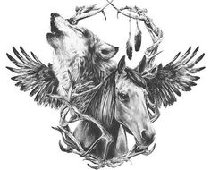 Wolf & Horse Temporary tattoo by WildLifeDream on Etsy