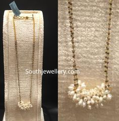 22 Carat gold two line black diamond mangalsutra chain with pearl pendant by kalyani Jewellers. Diamond Mangalsutra, Gold Mangalsutra Designs, Gold Jewellery Design, Antique Jewellery, Long Pearl Necklaces, Gold Necklace, Chain Necklaces, 22 Carat Gold, 18k Gold