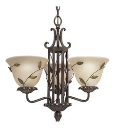 Progress Lighting Eden 3 Light Chandelier in Forged Bronze - much less bright bronze in real life