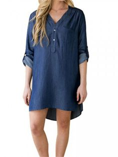 Pure Color Irregular Hem Long Sleeve Loose Denim Shirt Dress