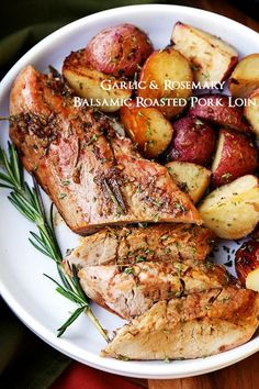 Flavorful, incredibly tender roasted pork loin rubbed with a Garlic and Rosemary Balsamic mixture makes for a crowd pleasing dinner with very little effort.