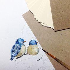 Малышки) #bird#love#blue#watercolor#aquarelle#акварель#Misha_illustration#illustration#art#paper_aquarelle#kids#chicks#птенчики#весна