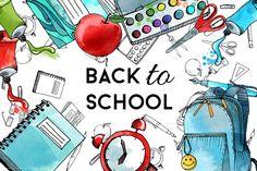 Back to school. Watercolor & vector  by Tatiana_davidova on @creativemarket