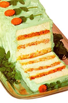 Party Sandwich Loaf. Includes shrimp salad filling, cheese-pecan filling, and chicken-bacon filling....topped with green-tinted cream cheese 'frosting.' So....uhhhh....classic??