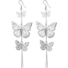 Alloy Layered Butterfly Earrings Silver ($30) ❤ liked on Polyvore featuring jewelry, earrings, butterfly earrings, earring jewelry, layered jewelry, silver jewelry and monarch butterfly jewelry