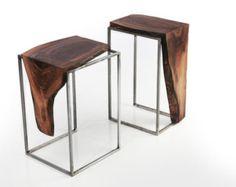 Conjunto de 2 mesas tapa sólida de la nuez por AntonMakaDesigns