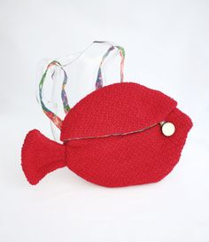 Cute red handbag red fish bag small handbag by GreenMarthaBoutique