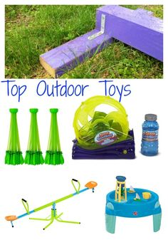 10 great outdoor toys for kids. Outdoor toys for toddlers, preschools and school age children. Great gift ideas for summer birthdays! #outdoortoys #bestoutdoor #toptoys #summerfun #cheapsummertoys #DIYsummer Outdoor Activities For Toddlers, Outdoor Toys For Kids, Summer Activities For Kids, Infant Activities, Preschool Activities, Outdoor Play, Backyard Toys, Water Toys, Preschools