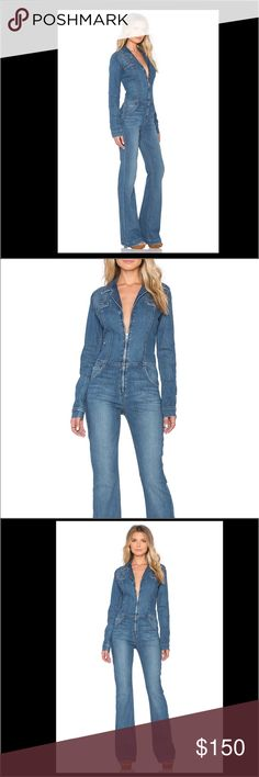 """Joes jeans Denim jumpsuit Too big for me. Slightly loose fit, I needed a 27. Inseam about 34 inches.                                      Joe's Jeans """"Studio Flare"""" jumpsuit in stretch-denim. Notched collar; zip front. Long sleeves; button cuffs; elbow patches. Welt pockets at chest. Five-pocket style. Slim silhouette; flared legs. Cotton/polyester/spandex. Imported. Model's measurements: Height 5'11""""/180cm, bust 33""""/84cm, waist 24.5""""/62cm, hips 34""""/86cm, dress size US 2. Joe's Jeans Jeans…"""