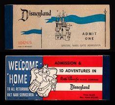 Vintage Disneyland Tickets: April 2008 to returning Vietnam Veterans Disneyland World, Disneyland Tickets, Vintage Disneyland, Disneyland Resort, Old Disney, Disney Love, Disney Magic, Disney Stuff, Disney Ideas