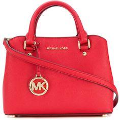 Michael Michael Kors Savannah small satchel bag (1,095 PEN) ❤ liked on Polyvore featuring bags, handbags, red, red satchel handbag, michael michael kors, satchel handbags, red satchel and satchel bags