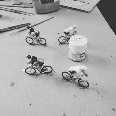 Starting to paint up some more miniature cyclists.