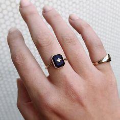 Shop for Ashley Zhang Jewelry Onyx Diamond Star Ring on Pietra. Buy Diamond Ring, Gold Diamond Wedding Band, Onyx Ring, Wedding Ring, Diamond Jewelry, Onyx Engagement Ring, Star Ring, Unique Rings, White Gold Diamonds