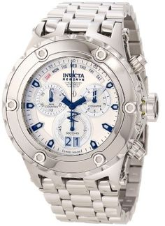 Invicta Reserve Men's Specialty Subaqua Swiss Made Quartz Chronograph High Polish Bracelet Watch Invicta. $390.00. Swiss quartz movement. Flame-fusion crystal; stainless steel case and bracelet. Silver tone dial with black and white hands and hour markers; luminous. Water-resistant to 500 M (1640 feet). Chronograph functions with 60 second, 30 minute and 1/10th of a second subdials with black; retro day displayed at 12:00 and date window at 6:00. Save 84%!