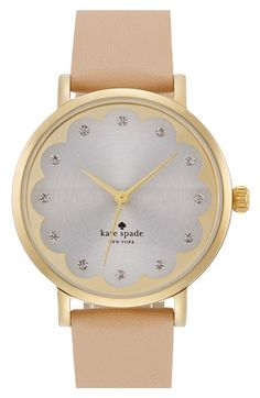 kate spade new york Vachetta Gold 'metro' scallop dial leather strap watch, 34mm | A lovely scalloped dial and striking leather strap give a touch of sweet glam to a classic round watch.