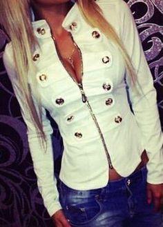 Button Embellished Mandarin Collar Zipper Closure Jacket   modlily.com