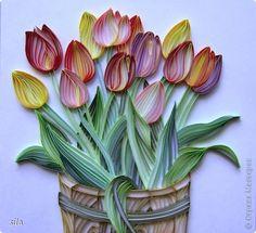 Открытка Квиллинг: Тюльпаны Бумага, Бумажные полосы, Картон, Клей День рождения. Фото 1
