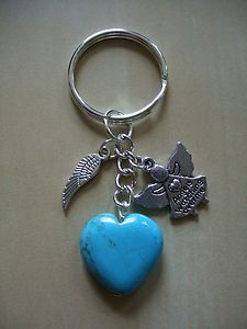 """Angels Watching Over Me"" with Healing TURQUOISE Gemstone Bag charm / keyring 
