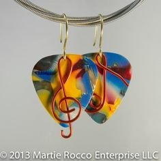 Multi color mosaic Guitar Pick Earrings red wire music symbols. 149GPE | @Marti Eagleton Rocco Jewelry - #Jewelry on #ArtFire
