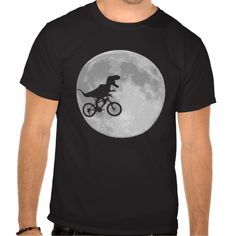 Funny Dinosaur / T Rex on a Bike / bicycle  In Sky With Moon - humorous E.T. parody T shirt - Clothes, fashion for women, men, teens and kids