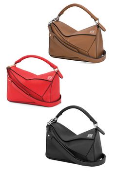 The Loewe Puzzle Bag in Brown, Red, and Black.