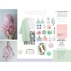 PASTELS by madelen-reinholdtsen on Polyvore featuring Monki, Clinique, Versace, Fuji, Nails Inc., Essie, Kim Seybert, Sur La Table, Jagger and Therapy