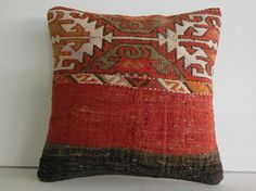 "16""coral red black brown decorative throw pillow kilim pillow cover accent cushion turkish sham southwestern decor shabby chic eclectic wool..."