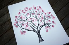 WEDDING TREE: Wedding guest book alternative, personalised hand drawn cherry blossom fingerprint tree. £30.00, via Etsy.