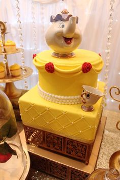Loving the elegant birthday cake at this Beauty and the Beast Birthday Party! See more party ideas and share yours at CatchMyParty.com