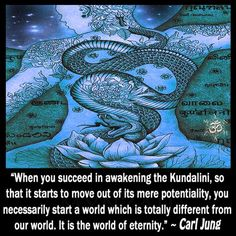 """When you succeed in awakening the Kundalini, so that it starts to move out of its mere potentiality, you necessarily start a world which is totally different from our world. It is the world of eternity. Carl G Jung, Carl Jung Quotes, Ascension Symptoms, Wounded Healer, World Quotes, Spiritual Awakening, Awakening Quotes, Spiritual Symbols, Psychology Quotes"