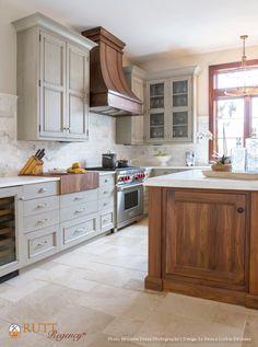 Rutt Regency Cabinetry ~ Abbey Door Design ~ Nimbus Paint w/Grey Antiqued Glaze ~ Island: Gardiners Island Door Design ~ Walnut ~ Natural Stain ~ Photo: Jessie Preza Photography ~ Design: Neena Corbin Kitchens