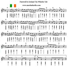 Farewell To Ireland Tin Whistle Sheet Music