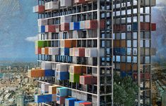 The main structure of the Containers Skyscraper allows shipping containers transformed into apartment units to be easily transported, plugged-in, and removed, providing nomadic-style housing to urban dwellers.