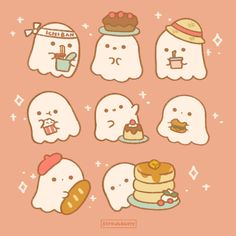 """@strawbabery shared a photo on Instagram: """"Hungry ghosties are wishing you a happy holiday weekend!✨ They hope you are getting some yummy treats😋 I'm getting a huge bucket of…"""" • Jul 3, 2021 at 3:29pm UTC Kawaii Doodles, Cute Doodles, Kawaii Art, Cute Patterns Wallpaper, Wallpaper Iphone Cute, Cute Wallpapers, Cute Animal Drawings, Kawaii Drawings, Cute Drawings"""